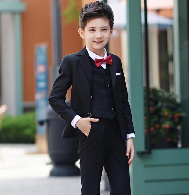 7fb85780f € 27.38 25% de DESCUENTO Trajes para niños para bodas niños trajes de  graduación negro trajes de boda niños tuexdo niños grandes ropa conjunto ...