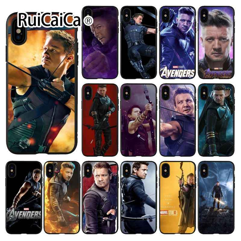 Ruicaica Marvel Avengers Hawkeye สมาร์ทโทรศัพท์ Shell สีดำสำหรับ iPhone 8 7 6 6 S Plus 5 5 S SE XR X XS MAX Coque Shell