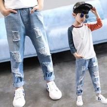 Dziecko chłopiec dżinsy dzieci Ripped Jean spodnie wiosna jesień chłopcy na co dzień stałe uszkodzony otwór spodnie jeansowe dla nastolatków dzieci 4Y 14Y