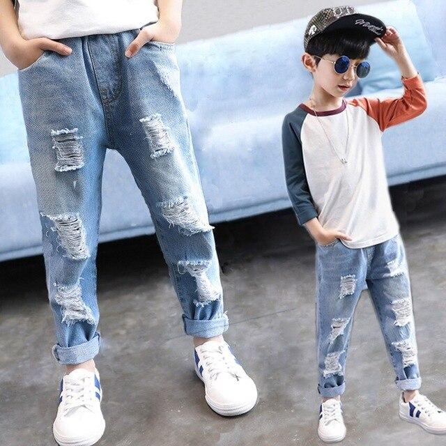 Çocuk erkek kot çocuk yırtık Jean pantolon ilkbahar sonbahar erkek rahat katı kırık delik denim pantolon için genç çocuklar 4Y 14Y