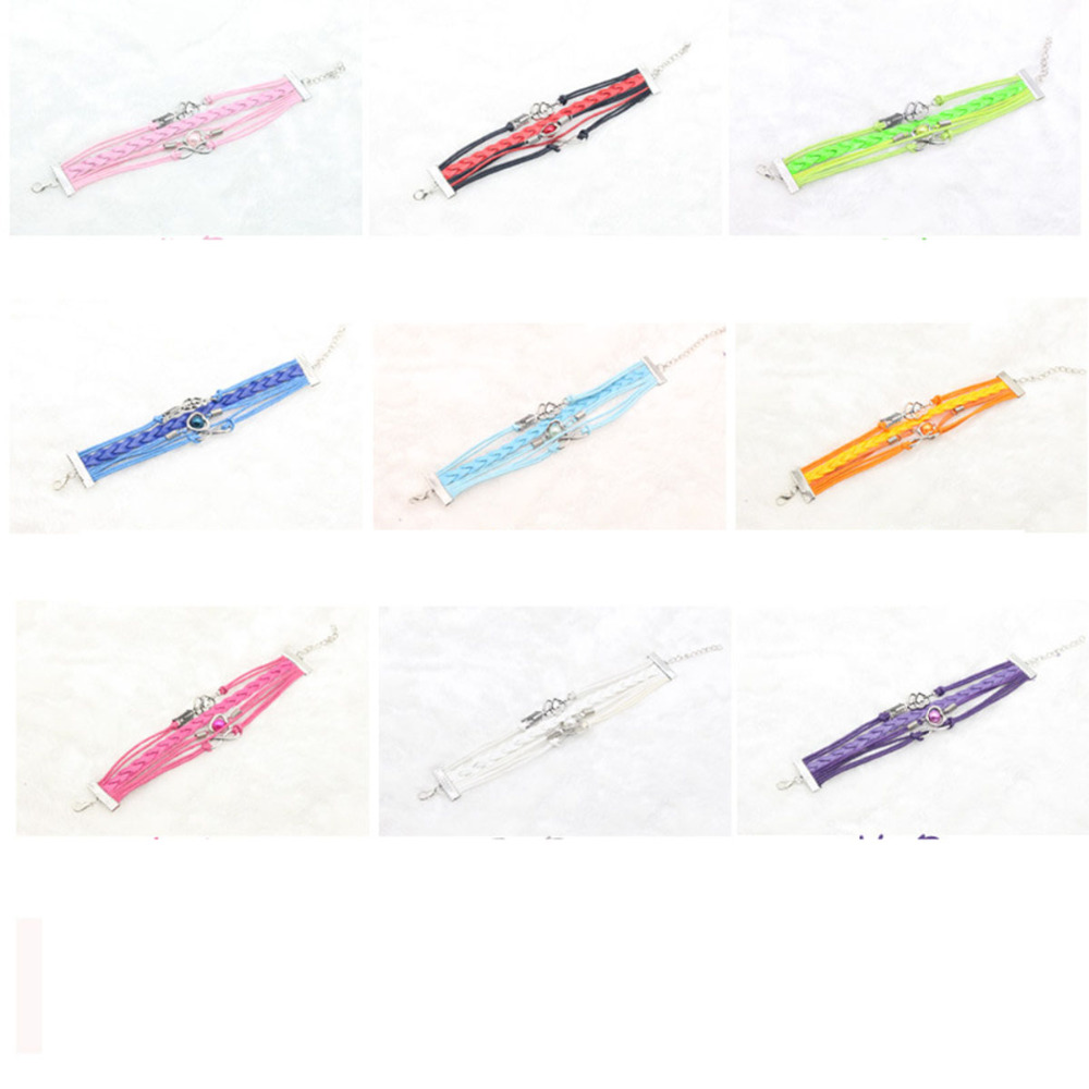 2017 Multi-Strands Infinity Silver Color Heart Charm Leather Braid Bracelet Bangle Jewelry 9 Colors For Women and Men