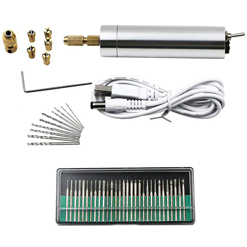 Usb 3-12V Mini Electric Drill Hand Drill Motor Hole Saw Aluminum Mini Electric Diy Pcb With Drill For Wood Plastic Drilling