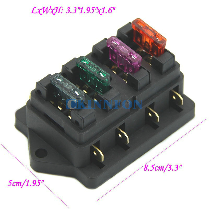 DHL 100PCS Car Accessory Waterproof Vehicle Truck Boat 4 Way Blade Fuse Box Holder 4X Fuse how to waterproof truck fuse box how wiring diagrams collection  at edmiracle.co