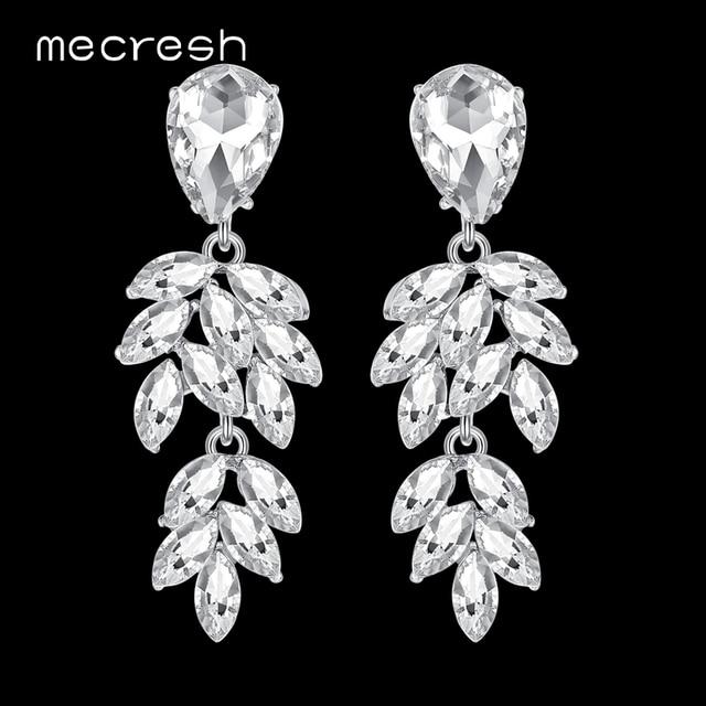 Mecresh сверкающий кристалл невеста серьги для девочек серебряные Цвет со стразами милые листьев Свадебные Длинные висячие серьги 2018 MEH1088
