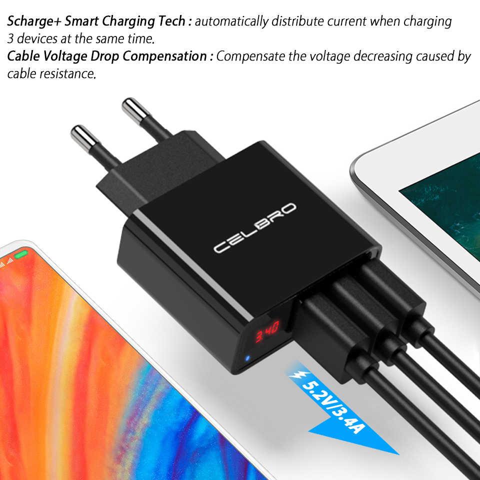 3.4A 3 порта Usb настенное зарядное светодиодный дисплей мульти USB зарядное устройство адаптер Путешествия домашний телефон зарядное устройство США ЕС штекер для Iphone Xiaomi