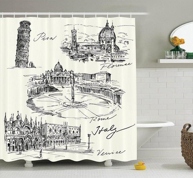 Sketchy Shower Curtain Travel The World Themed Historical Italian Landmarks Venice Rome Florence Pisa Fabric Bathroom Decor Set
