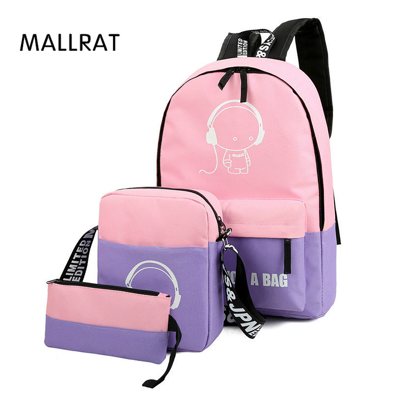 MALLRAT 3 Pcs/Sets Girl Luminous Women Backpacks Nylon School Bags Fluorescence Backpack For Teenager Book bag mochila light bag women sequin backpack mochila lentejuelas teenager girl school bags bling bling lady backpacks bolsa feminina sac a main femme