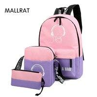 Banbuni 3 Pca Sets Girl Luminous Women Backpacks Nylon School Bags Fluorescence Backpack For Teenager Book