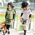 2-7y, 2016 New Girls Summer Set Short T-shirt and Skirt Kids Set Children Shirt and Casual Skirt Baby Fashion Thin Two-piece Set