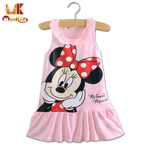 Monkids Christmas Dress Cute Cartoon Baby Girls Dresses Kids Girl Clothing Sleeveless Princess A-Line Mini Dresses 2 Color