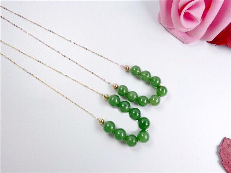 Nouveau véritable or 18 K incrusté de chaîne de clavicule pendentif boule de Jade vert chinois naturel - 4