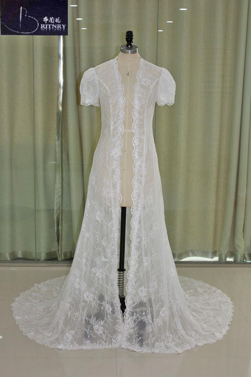 CJ5005008 date boléro dentelle veste de mariage à manches courtes nuptiale haussement d'épaules Long Train enveloppes de mariage blanc ivoire vraie Photo