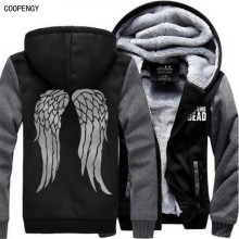 Neue The Walking Dead Hoodie Zombie Daryl Dixon Wings Winter Fleece Herren Sweatshirts USA Größe