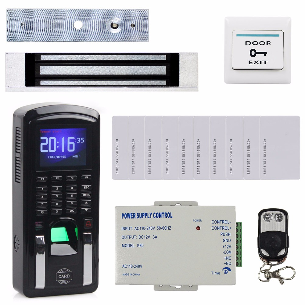 DIYSECUR TCP/IP USB Fingerprint ID Card Reader Password Keypad Door Access Control System + Power Supply + Magnetic Lock Kit diy full tcp ip fingerprint access control system fingerprint door access control with rfid card reader md131 magnetic lock