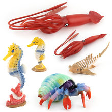 6 Styles Ocean Marine World Animal Set Sea Life Simulation Figure Octopus Crab Collection Model Doll For Children Gift Toys(China)
