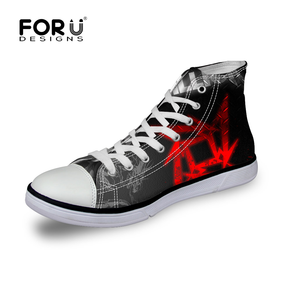 FORUDESIGNS Teen Men Canvas Shoes Metallica Skull Print Heavy Metal Rock Hip Hop Pattern Flats Shoes for Men Casual Male Shoes