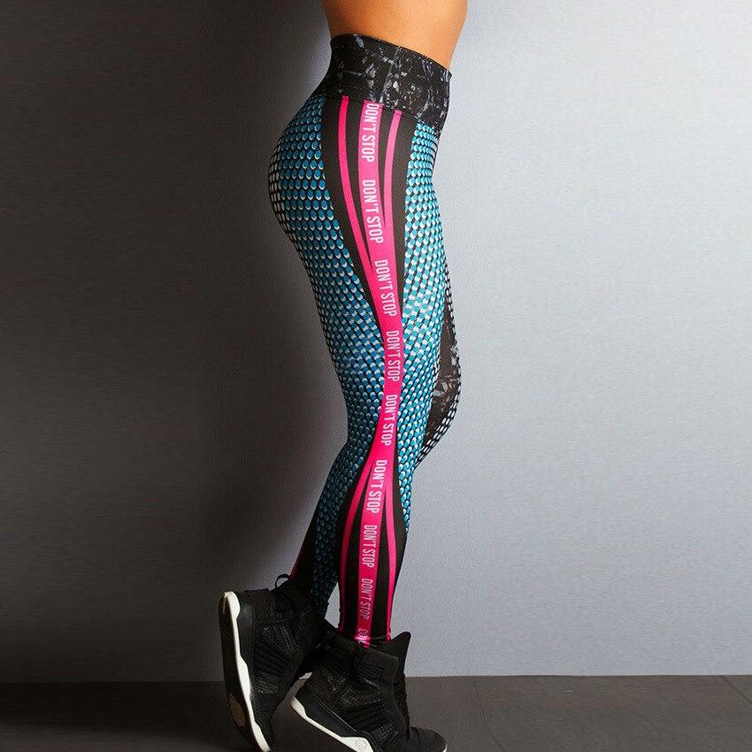 2018 New Honeycomb Letter Printed Women Fitness Leggings Skinny High Waist Elastic Push Up Legging Workout Pants Leggins