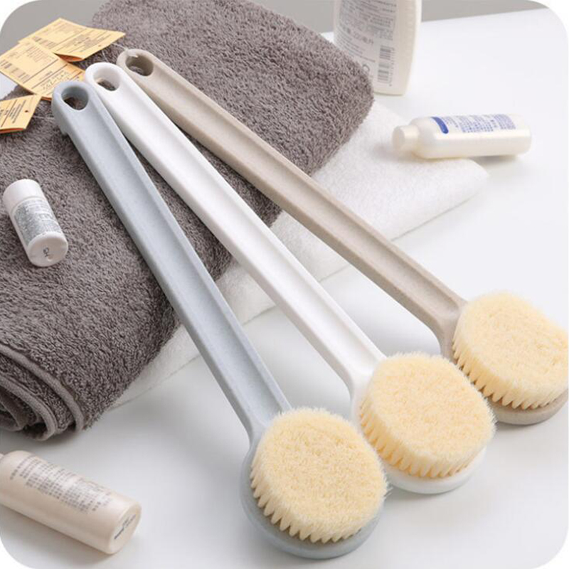 Natural Bristle Dry Skin Body Wooden Brush Scrubber Long