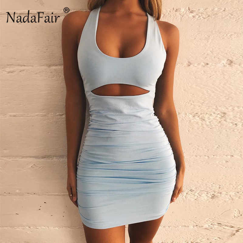 Nadafair с открытыми плечами открытая спина пикантное платье с бандажом для женщин Ruched Клубная одежда вечерние мини Bodycon летнее платье vestidos robe Femme