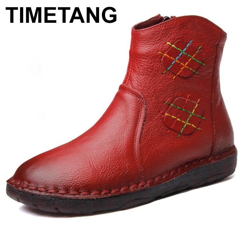TIMETANG 2018 Autumn Women Ankle Boots Vintage Handmade Genuine Leather Flat Martin Boots For Women Casual Shoes Botas Mujer nikbea brown ankle boots for women vintage flat boots 2016 winter boots handmade autumn shoes pu botas feminina outono inverno