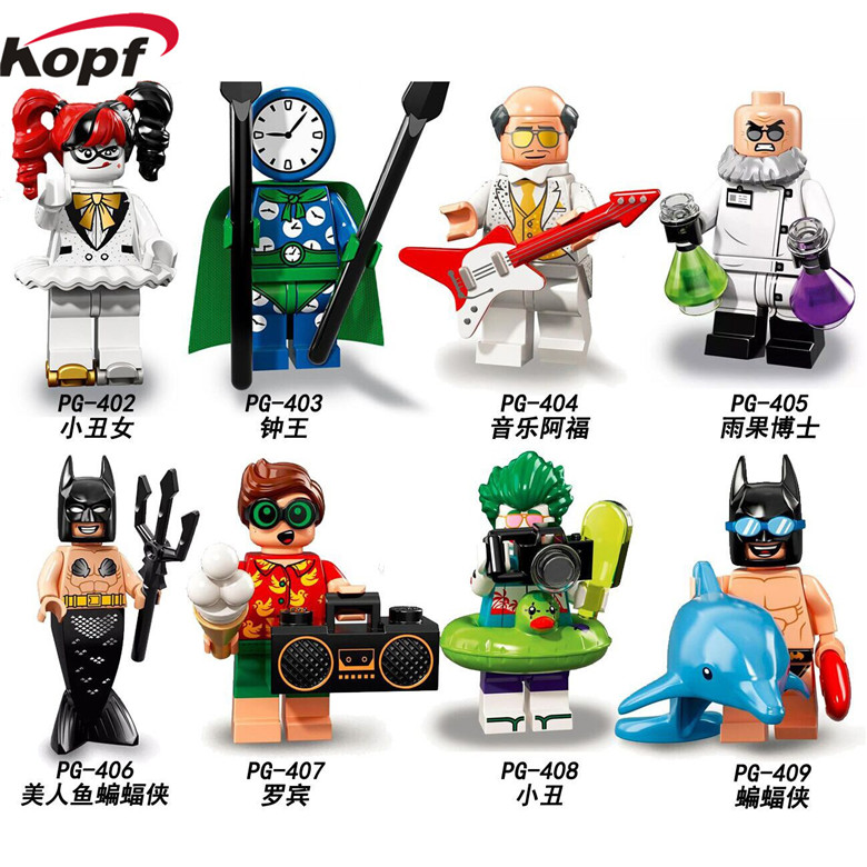 Single Sale Mermaid Batman Super Heroes Hugo Strange Robin Clock King Alfred Joker Building Blocks Children Toys Gift PG8106 building blocks super heroes back to the future doc brown and marty mcfly with skateboard wolverine toys for children gift kf197