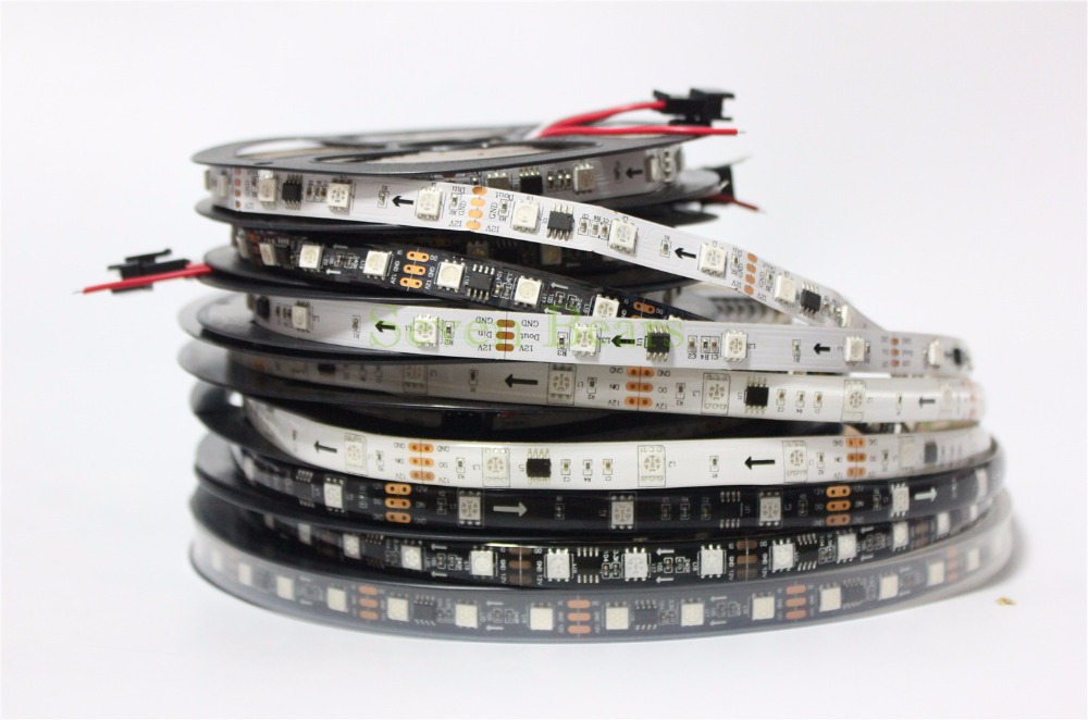 DC12V WS2811 led strip 5m 30/48/60 leds/m,IP30/65/67,10/16/20 pcs ws2811 ic/meter, Black PCB, 2811 led strip Addressable Digital