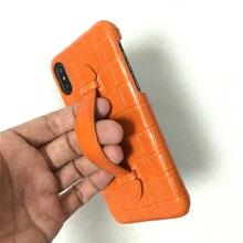 Solque Genuine Leather Hand Strap Handle Holder Phone Cases For iPhone X XS Max 10 Luxury Crocodile Thin Hard Back Cover Orange цены