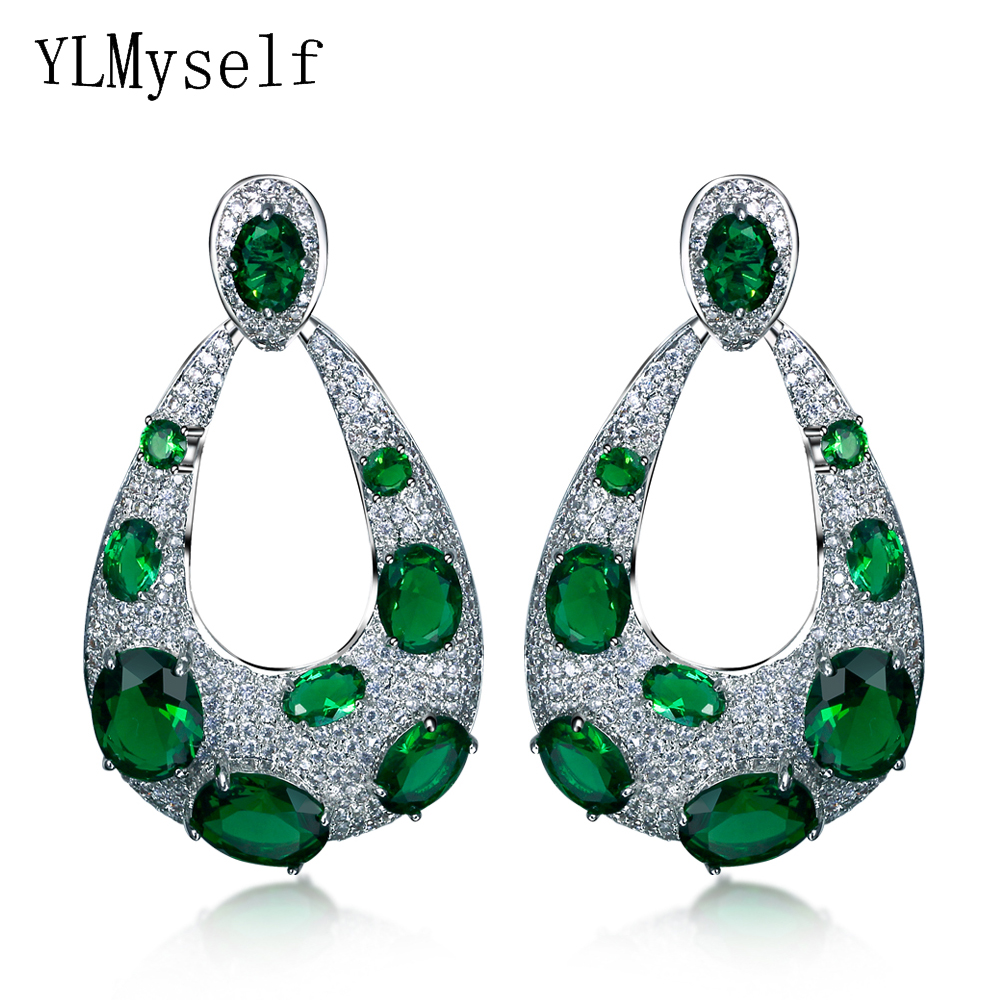 цена на 4 Colors New Water Drop Earrings with Big Oval cut crystal stones White Color Large TearDrop trendy earrings