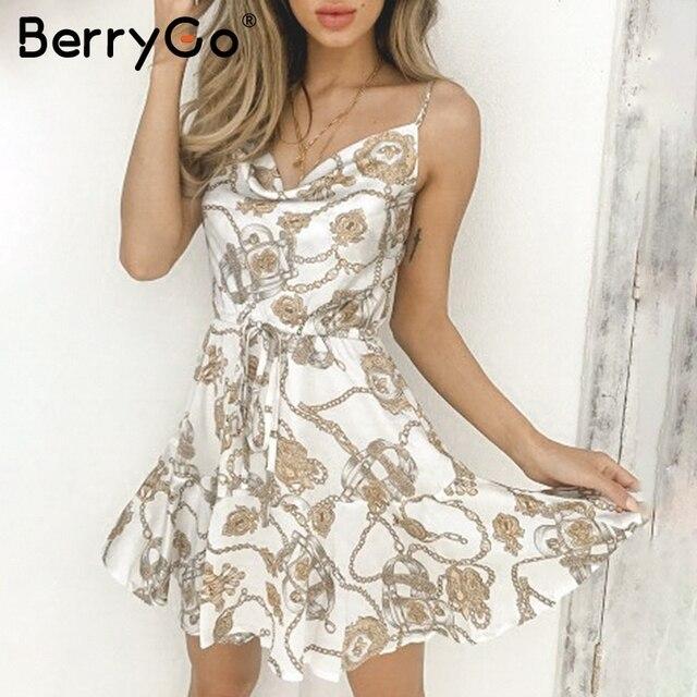 BerryGo сексуальные цепи печати женское платье Спагетти ремень кружево до летние шорты Сарафан Белый Высокая талия праздник Пляж дамы платья