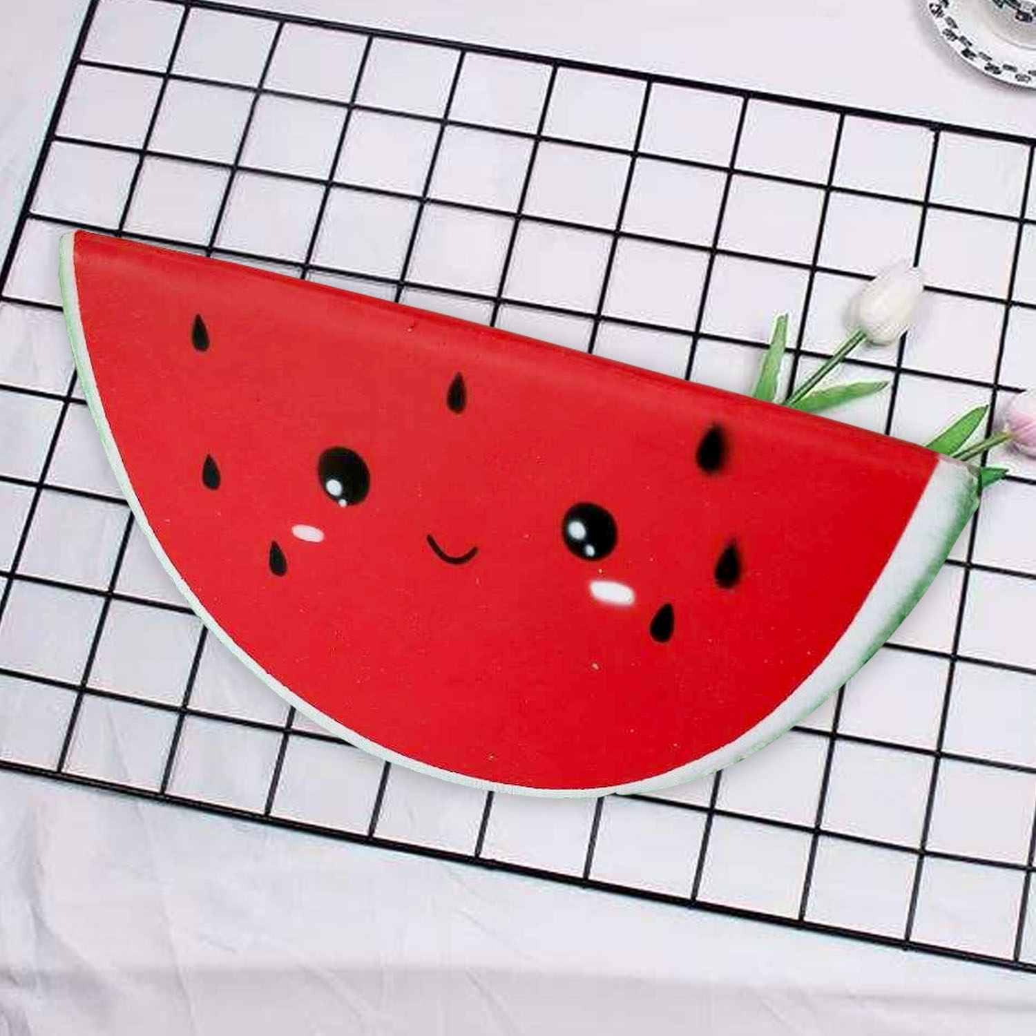 Besegad Kawaii Slow Rising Rebound Squishy Food Fruits Smile Face Watermelon Squishies Anti Stress Relieves Stress Anxiety Toys