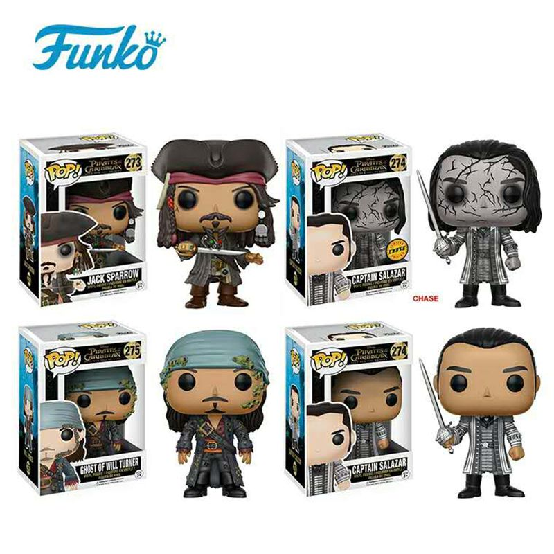 New FUNKO POP Official Pirates of the Caribbean - Jack Sparrow, Ghost Will Turner, Captain Salazar Vinyl Figure Collectible Toy loz pirates of the caribbean jack salazar mini blocks brick heads figure toy assemblage toys offical authorized distributer