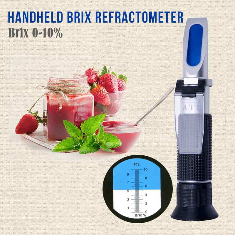 Handheld Brix Refractometer For Alcohol Juice Fruit Sweetness Brix Test Optical 0-10% Brix Atc Fruit Sugar Meter Saccharimeter 4 8 days arrival lb92t portable sweetness tester brix meter with measuring range 58 92