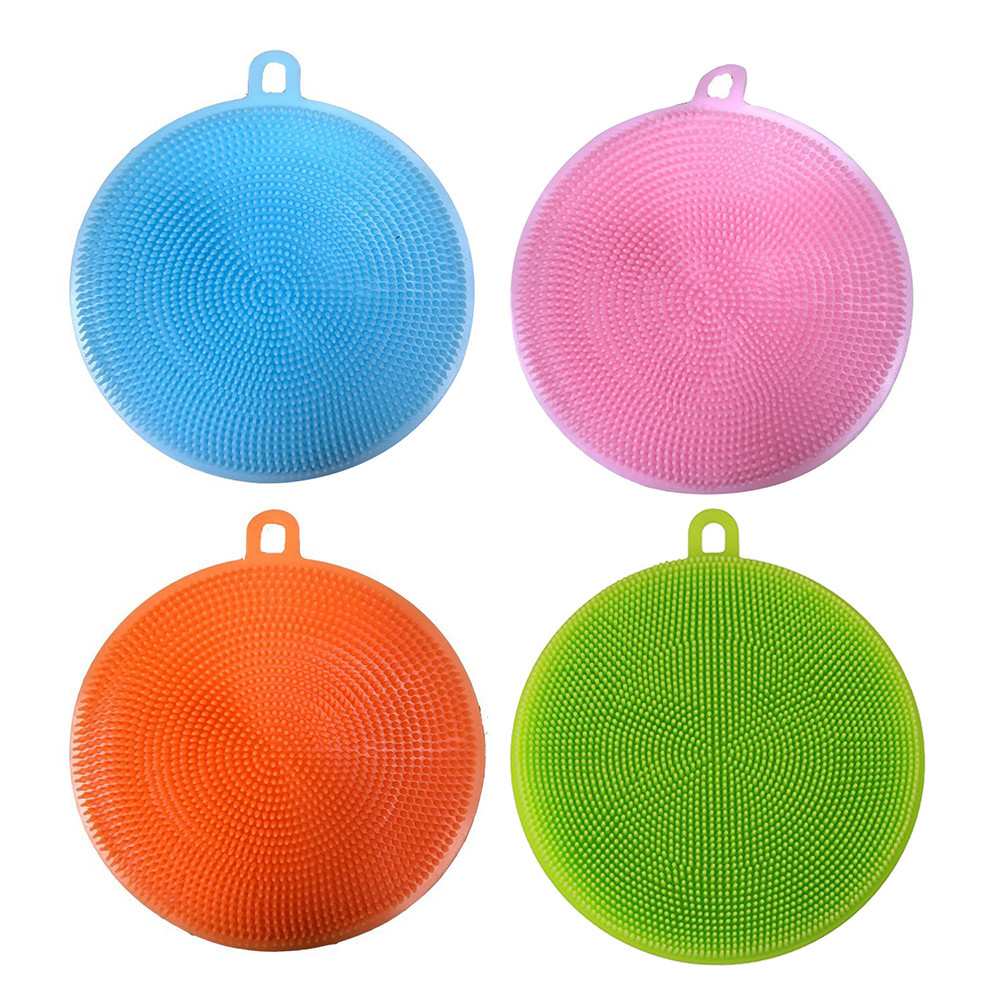 4Pcs Silicone Dish Washing Sponge Scrubber Cleaning Brushes Kitchen Cleaning Antibacteria Kitchen Household Cleaning Tool F1029