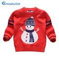 Grandwish santa claus suéteres para niños niñas suéteres de las muchachas de año nuevo top niños muñeco de nieve de navidad ropa 3 t-10 t, SC684