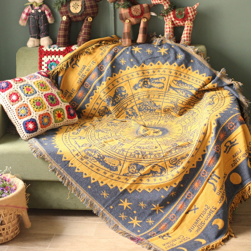 Bohemia Sofa Towel Tassel Blanket Knitted Multi Functional Bed Sofa Cover Stitching Sofa Decorative Slipcover Throws