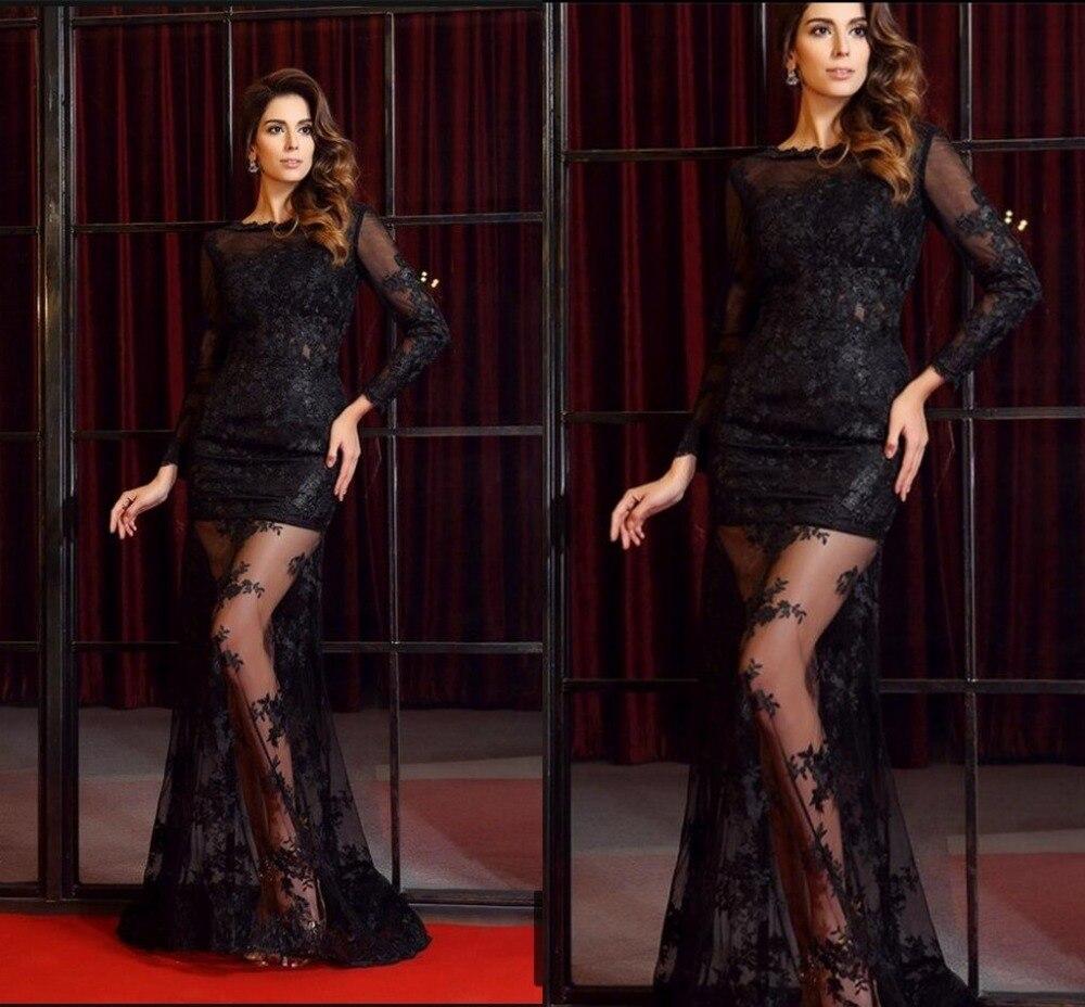 2016 stiilne must pits pikkade varrukatega seljata seksikas - Eriürituste kleidid - Foto 3