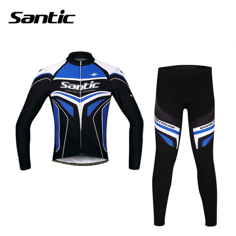 SANTIC Cycling Jersey Sets Mens 4D Gel Padded Bicycle Suits Road Bike Clothing Sets Spring Autumn Sky Cycling Sets Male Skinsuit цена
