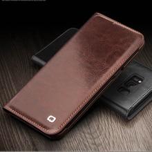 QIALINO Business cowhide Flip Bag for Samsung font b S8 b font Leather Bag Flip Wallet