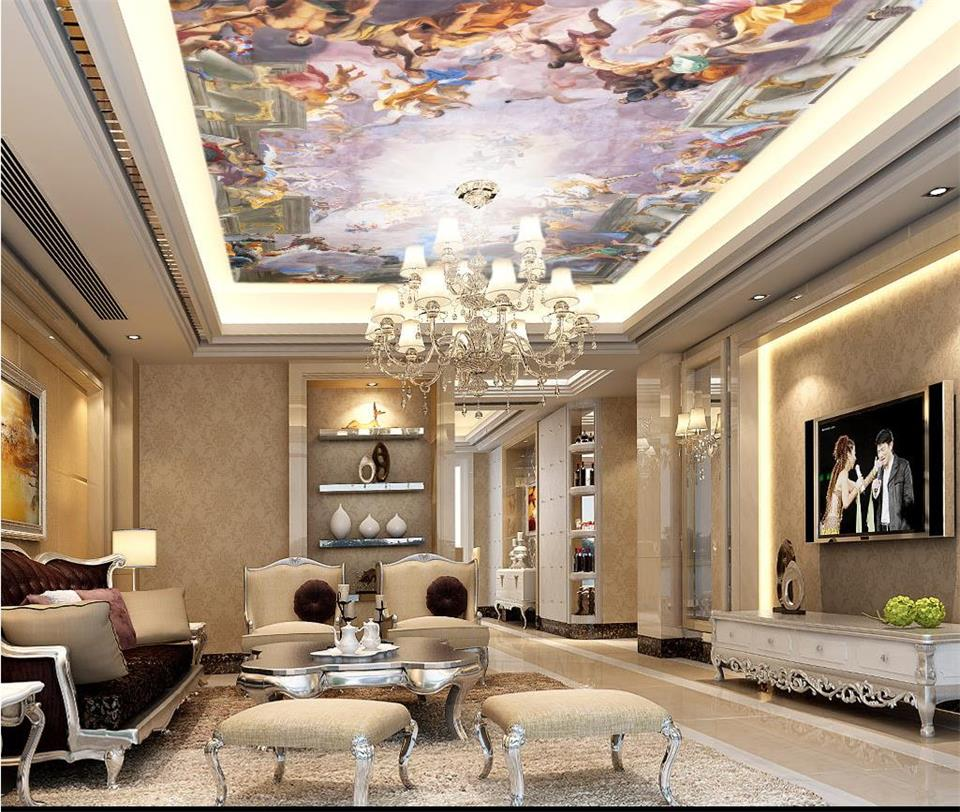 custom mural wallpaper ceiling room 3d photo lineage landscape oil painting zenith room painting background non-woven wallpaper free shipping large mural wallpaper villa living room ceiling european oil painting wallpaper