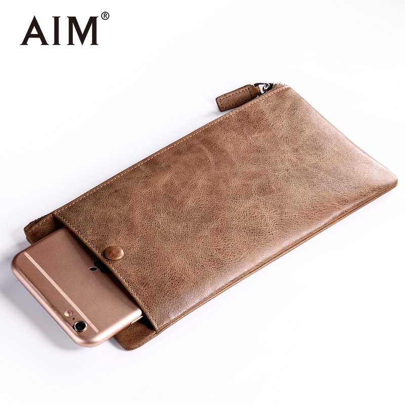 AIM Genuine Leather Men Wallet Thin High Quality Long Wallets Men Phone Pocket Leather Credit Card Holder Slim Coin Purse N201 genuine leather men wallets 2018 famous brand credit card holder purse bag coin pockets zipper long wallet high quality tw1634