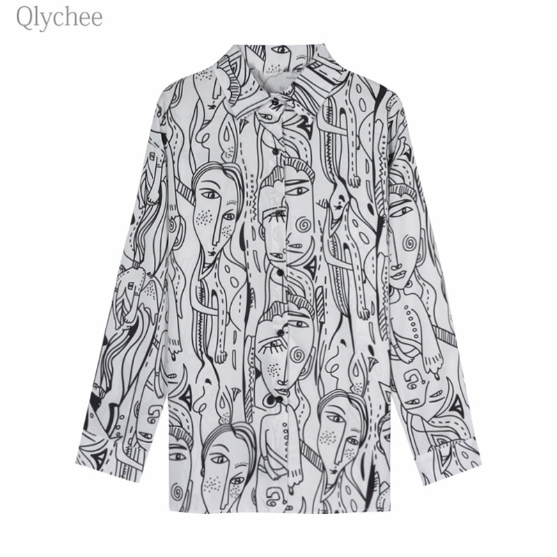 Qlychee Face Print   Blouse   Female Long Sleeve Turn Down Collar Single-Breasted   Shirts   Spring Autumn Office Lady   Blouse     Shirts