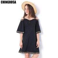 f03d5df643 CHINGROSA Black Solid Sequined Shoulderless Girls Dresses Princess Summer  Dresses Girls Clothes Kids Clothing Vestidos Infantil