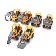 6 pçs/lote mini carro brinquedos diecast conjuntos de veículos construção bulldozer escavadeira engenharia veículo kit crianças mini carro engenharia