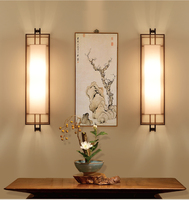 Chinese Style LED Wall Lamp 2 Bulbs Fabric Lampshade Fixtures For Home Bar Cafe Indoor Lighting Bedside Light Lamparas De Pared