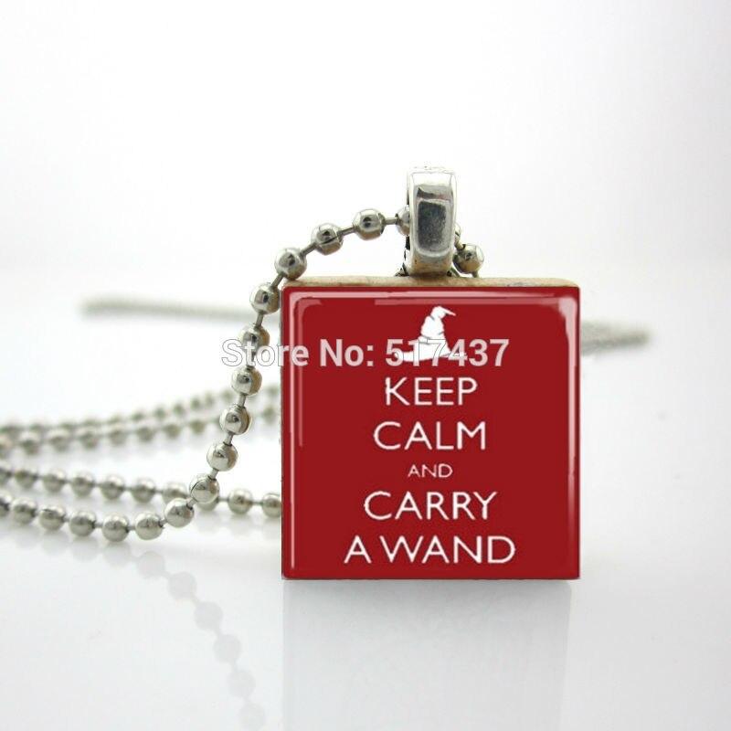 2015 Новый Цитата Эрудит Кулон Сохранять Спокойствие И Нести Wand Ожерелье Эрудит Плитки Ожерелье