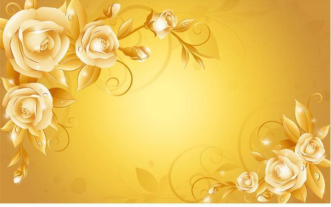 3d wallpaper custom 3d wall murals wallpaper Golden roses ...