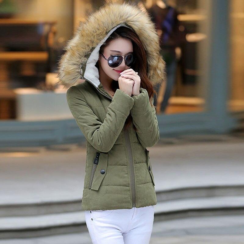 Artı boyutu 2XL yeni 2016 kadın ordu yeşil parka sonbahar kış mont ceket kadın faux kürk yaka bayanlar parka kadınsı Ceket kadın
