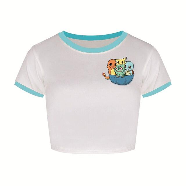 Nova Pikachu Charmander Pokemon Ir Topos de Culturas de Manga Curta T-shirt Mulheres Secagem Rápida Tee Femme Solto Blastoise FTJST Surf TShirt