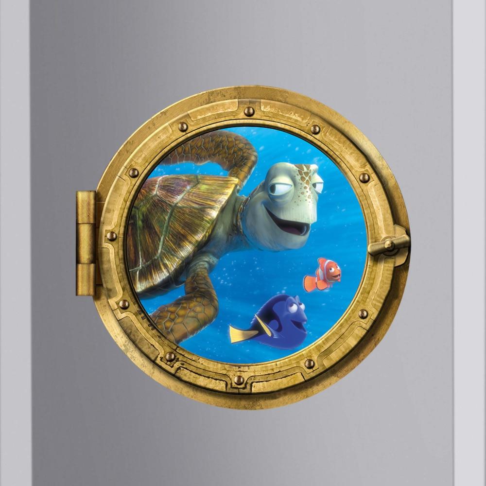 Ocean View Tortoise Fish 3d Wall Sticker Bathroom Decals Sea Wall Art For Kids Rooms Diy