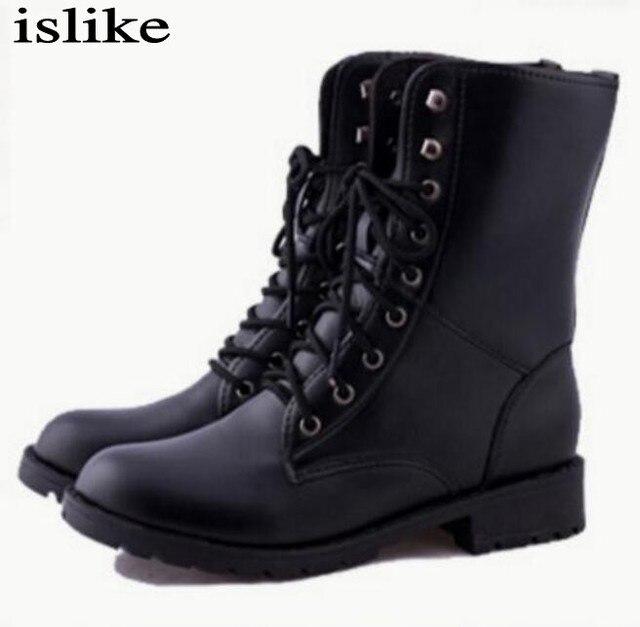 Up Pu Lace Herfst Lederen Zwart Laarzen Islike Winter Vrouwen Leger 534LARqj